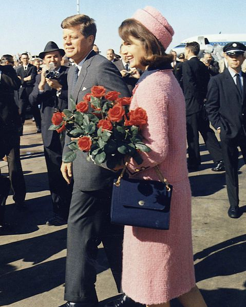 The Kennedys arrive at Dallas: note the pink suit