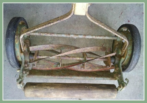 "Vintage ""egg beater"" lawn mower"