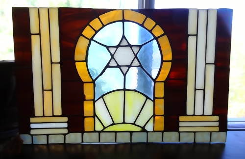 The project I was in the middle of when I quit stained glass: a Mizrah which is hung on an eastern wall to point in the direction of Jerusalem