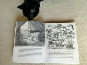 Pear Blossom checking out Bill Peet's book